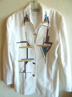 City Girl 2-Pc Embellished Blouse & Jacket White w/ Brites Resort Wear USA  12
