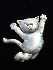 """""""JJ"""" Jonette Jewelry Silver Pewter 'Joyful CAT' Pin"""