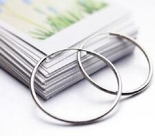 1 pair 925 Sterling Silver ENDLESS Round 2mm thin Hoop Earrings, 55mm 2.16 inch