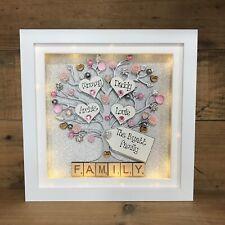 LED light Box Frame Family Tree Scrabble New Home Gift Floral Glitter