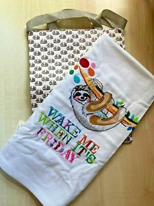 New Anthropologie Yolanda Andres Tea Dish Towel -Sloth Wake Me Friday & Gift Bag