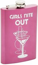 Maxam Drinkware Stainless Steel Girls Nite Out Flask, 8 oz, Pink