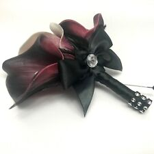 Seductive Elegance Real Touch Calla Lily Boutonniere Dark Purple Large Triple