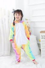 Kids rainbow Unicorn Kigurumi Animal Cosplay Costume Onesie15 Pajamas Sleepwear