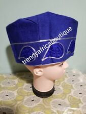 Royal blue size 23 Nigerian Traditional wedding  Agbada embriodered cap for men