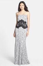 NWT! Tadashi Shoji Two-Tone Lace Strapless Gown Black  [SZ 14] #N581
