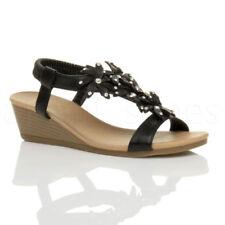 Sandali e scarpe spillo nera in pelle sintetica per il mare da donna