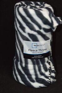"Zebra Warm Cozy Super Soft Comfort Fleece Throw Blanket 50x60"" Black White #10"
