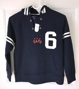 NWT Boys GAP Navy Blue Varsity Sport Pullover Hooded Sweatshirt, Size M (8)