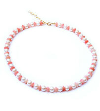 Adjustable pink coral and fresh water pearl necklace. NKL360012