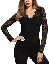 DJT Women's V-Neck Floral Lace Overlay Lined Long Sleeve Top, Black, Size Small