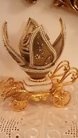Valentines Gift Imperial Faberge egg Russian 24k Gold Real Egg Hand Made