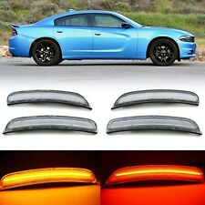 Clear Front & Rear LED Side Marker Light Lens Set For 2015-2018 Dodge Charger