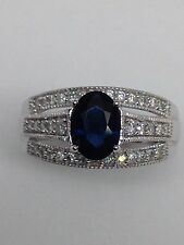 14K White Gold Oval Shape Blue Sapphire and 0.35ct twt Diamond Ring September