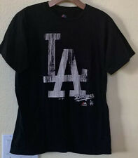 Majestic MLB LA Dodgers Black Distressed T-Shirt Size Medium