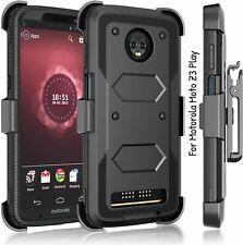 For Motorola Moto Z3 Play Case Holster Clip Belt Full Body Kickstand Cover Black