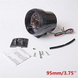 95mm/3.75'' 12V White LED Backlight Tachometer Gauge 0-8000 RPM For Gasoline Car