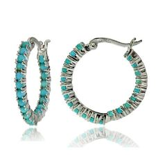 Sterling Silver Simulated Turquoise Inside Out Hoop Earrings
