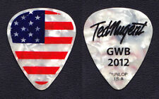 Ted Nugent Signature Us Flag White Pearl Guitar Pick - 2012 Tour