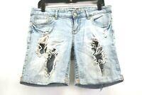 Rue 21 Women's 7/8 Stretch Cotton Distressed Holey Light Wash Denim Jean Shorts