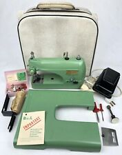 Vintage 1950s Bell Portable Sewing Machine + Pedal Case Base & Accessories Works
