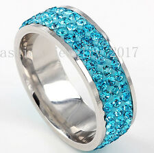 Lots 5Pcs Wedding Ring Women Silver Stainless Steel 3Row Crystal Cubic Zirconia