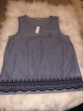 Talbots Womens Tunic Top Blouse Embroidered Chambray Blue Navy Small S New