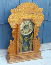 Antique Vtg Working Wm L Gilbert Mantle Kitchen Parlor Clock Cherub Gingerbread