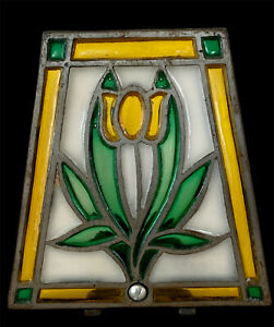 Vintage Cast Iron Stained Glass Yellow Tulip Flower Tea Light Candle Holder