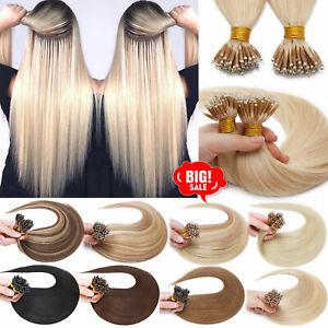 "HOT Nano Ring Tip Remy Human Hair Extensions Nano Micro Beads Link Real Hair 18"""