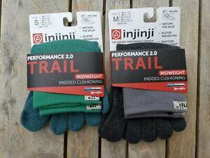 1 Pack Injinji COOLMAX Trail Midweight Padded Cushioning Mini-Crew Socks  S M