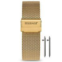 Masar 16mm à 22mm  Libération Rapide Bracelets de Montre en Maille Milanaise Or