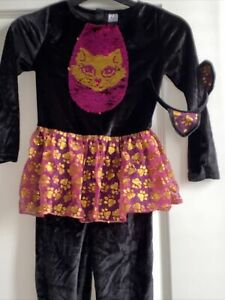 Girls Halloween Cat Costume Age 5-6 With Headband Worn Once