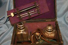 instrument scientifique  médical ancien coffret avec cautères en platine