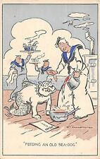 POSTCARD  COMIC     Navy    Related    Feeding  an  Old  Sea  Dog