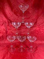 6 Vintage Clear Depression Glass Etched Floral ELEGANT WINE GLASSES  e365