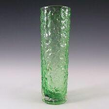"""Japanese """"Best Art Glass"""" Textured Bark Green Glass Vase"""