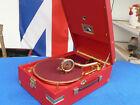 HMV 101 Gramophone LUXURY ,feinstes Ziegenleder und 18 Kt. Vergoldung !