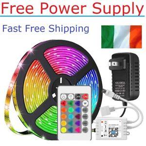 5m RGB Flexible Led Strip Lights 24 Key Remote 12V Power Supply Full Kit Set