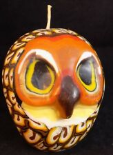 """OWL CANDLE 3.5"""" T by 5"""" Dia ARTISAN WAX COLORFUL BIRD CANDLE"""