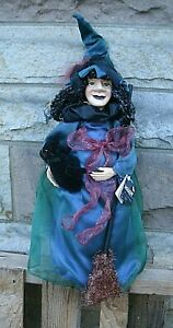 Witch with Black Cat Broom Halloween Decoration Spooky Hollow doll character