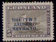 Greenland #27v 5kr Eider Duck, Inverted Ovpt - only 400 made, og, Nh, signed