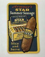 Vintage 1929 Armour's Star Summer Sausage Salesman Card Calendar Meat Company