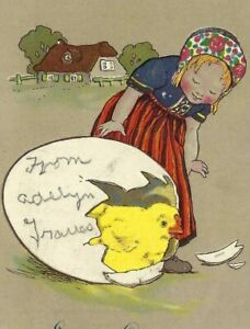 CE-028 Easter Greetings, Girl with Egg Chick Raphael Tuck divided Back Postcard