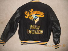 St Lawrence High School Jacket Letterman Vikings Golf Bowling Black Yellow '02 L