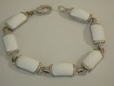 JUDITH RIPKA STERLING FACETED WHITE AGATE CABOCHON BRACELET 8 INCH
