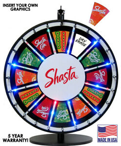 24 Inch Insert Your Own Graphics Lighted Prize Wheel with RGB Blinking LEDS-USA!