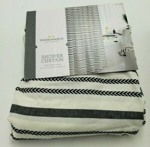 Threshold Shower Curtain Black/White Stripe 72in x 72in New Damaged Packaging