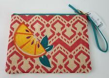 Vera Bradley Straw Beach Wristlet Red Chevron Orange Slice Fabric Lined 7 Pocket
