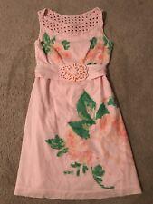 Karta Dress Size Medium Pink Pixel Floral Print Embellished Sleeveless Woven